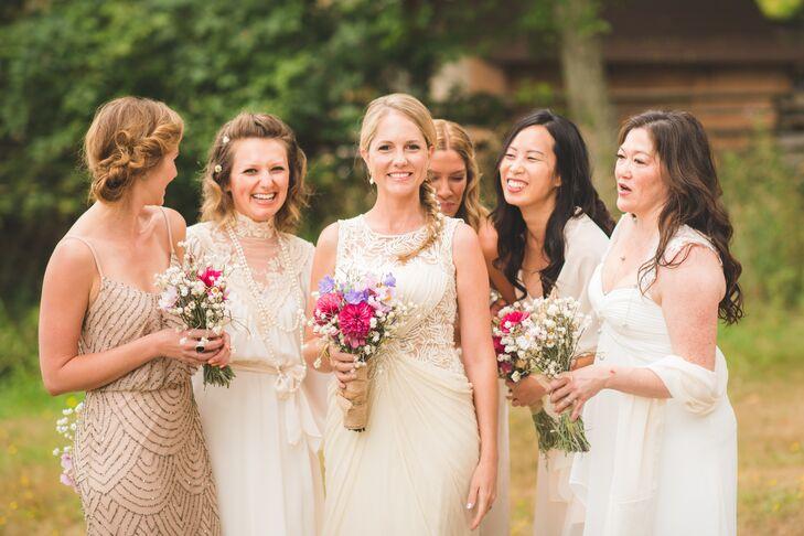 White and Cream Bridesmaid Dresses