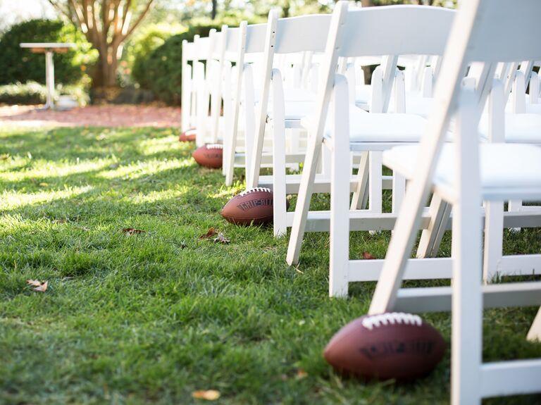 Football at wedding ceremony.