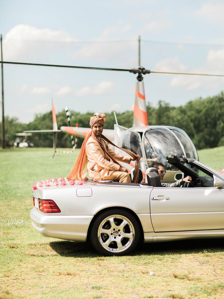 """Vikas arrived to the Hindu ceremony at the Deerfield Country Club via helicopter. """"Our guests were stunned,"""" says Arselie. """"From there he got into my late grandfather's convertible Mercedes for the procession and was driven by my cousin.  It was an incredible touch to be able to involve my grandfather in our day."""""""