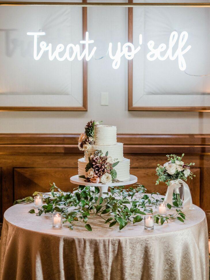 Wedding Cake Table With Custom Neon Sign