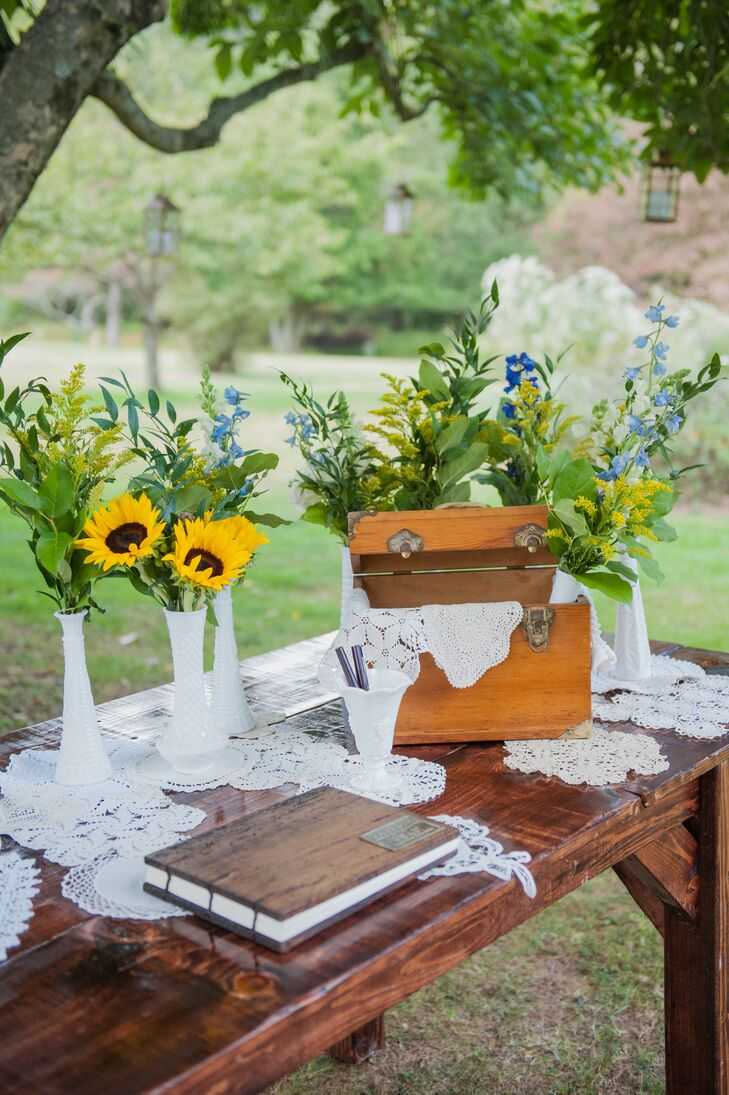 Rustic, Wooden Guest Book With Sunflowers