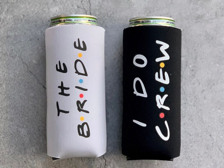 Black koozie that says 'I do crew' in Friends font, white koozie that says 'The Bride'