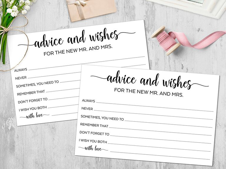 'advice and wishes to the new mr. and mrs' in black calligraphy six prompts