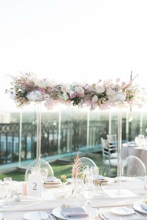 Tall Acrylic Centerpieces with Roses and Cherry Blossoms