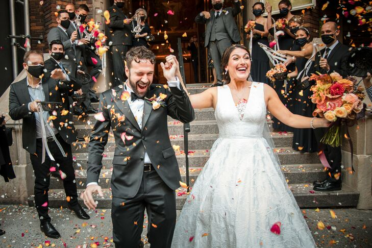 Anastasia and Brian's wedding at The Foundry in Long Island City, New York, blended a dark-and-moody color palette, Victorian- and apothecary-inspired