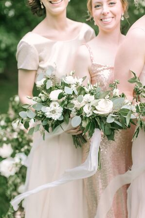 Bridesmaids Sporting Neutral Dresses and Bouquets