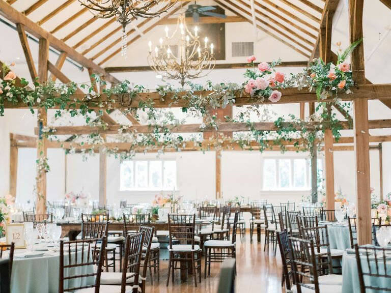 Rustic barn wedding venue with antique chandeliers hanging from ceiling