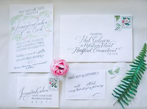 Hand-Lettered Fern Wedding Invitations
