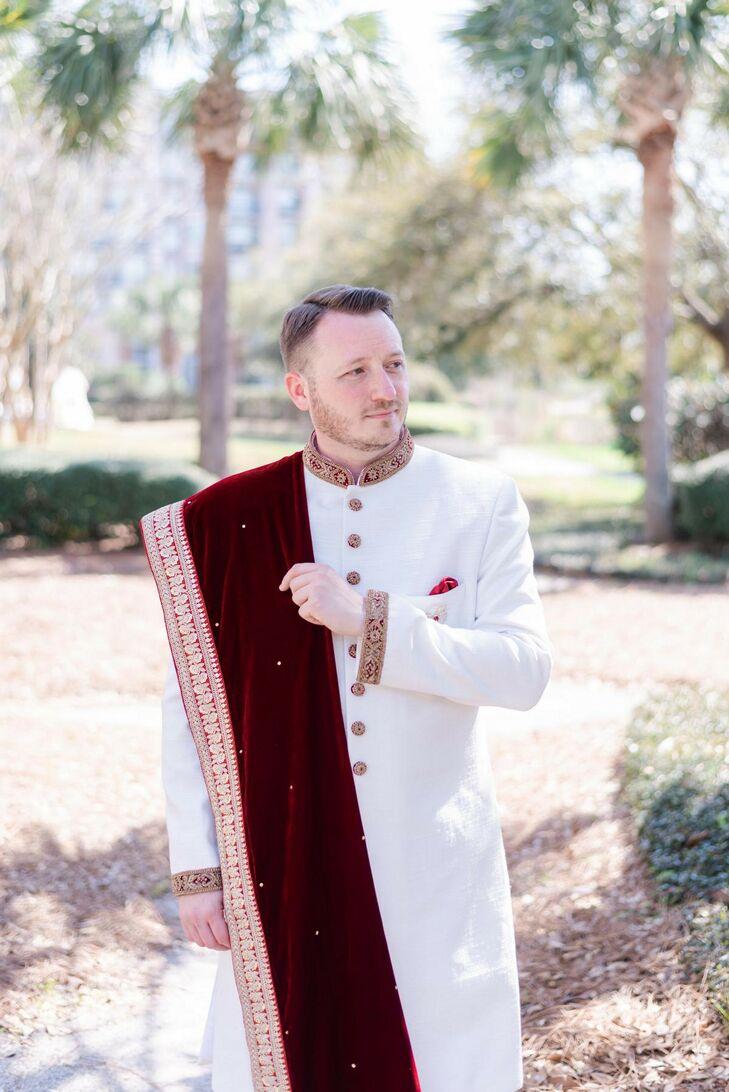 Groom in White-and-Burgundy Sherwani for Wedding at Harborside East in Charleston, South Carolina