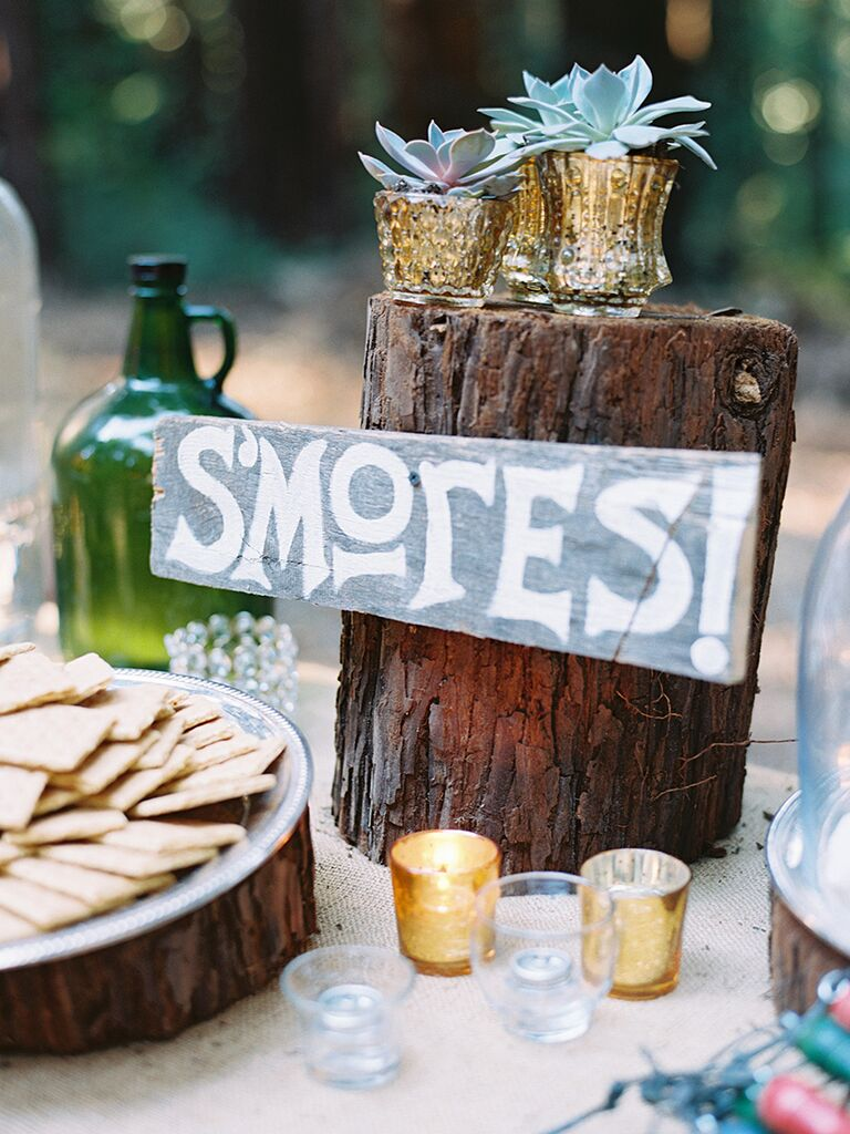 Smore's dessert station for a wedding reception