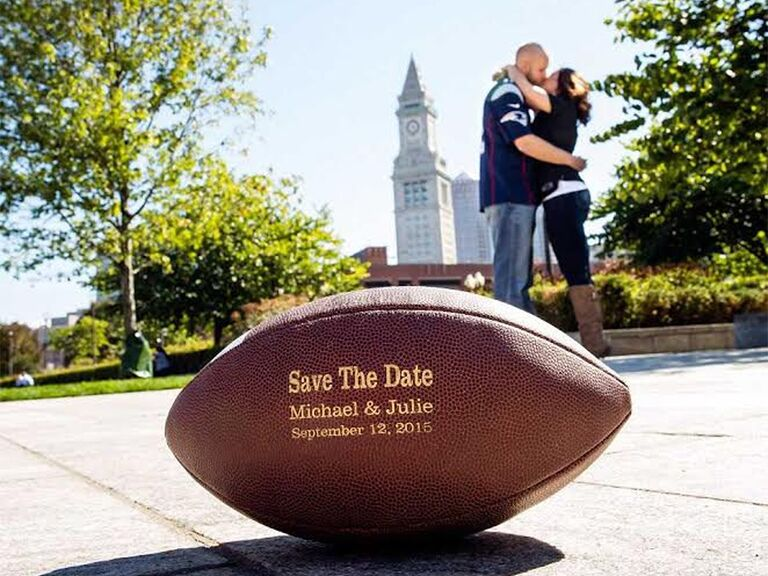Football with 'Save the date' and names and date in gold type