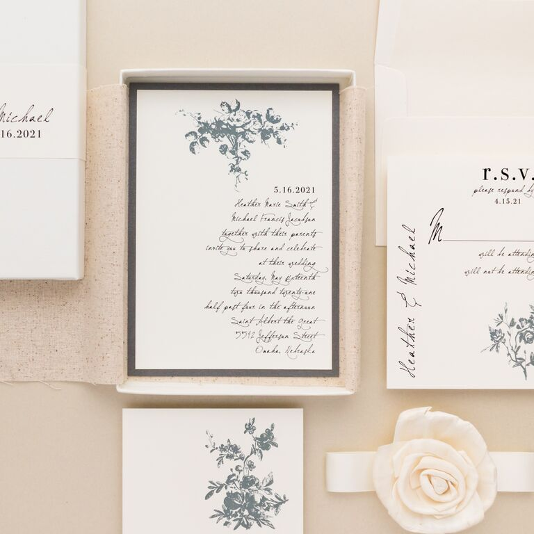 Handwritten script with black and white vintage floral graphic in white box