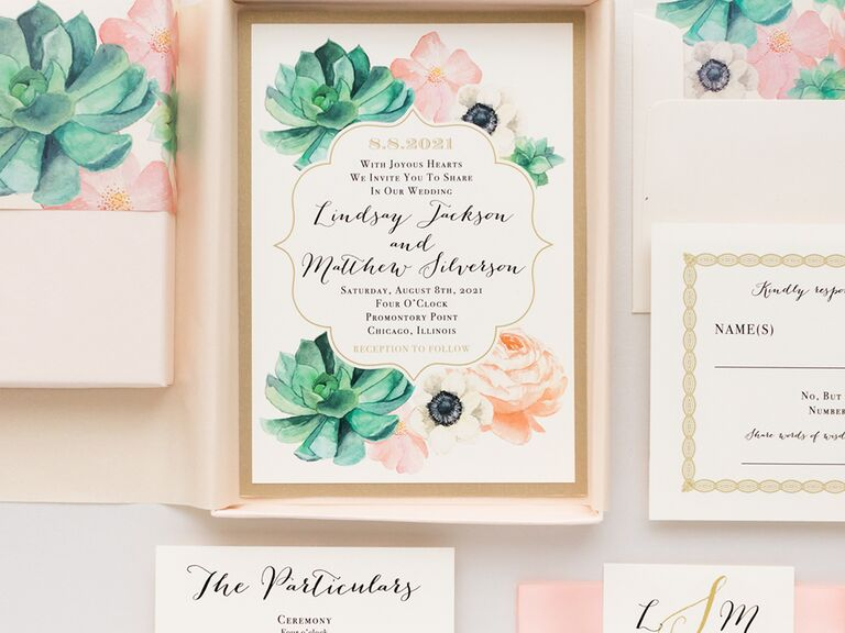 Elegant succulents and pink and white florals bordering event details in taupe box