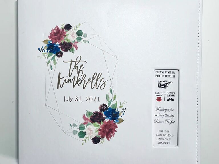 etsy boho floral white wedding guest book idea with custom photo booth slot cover
