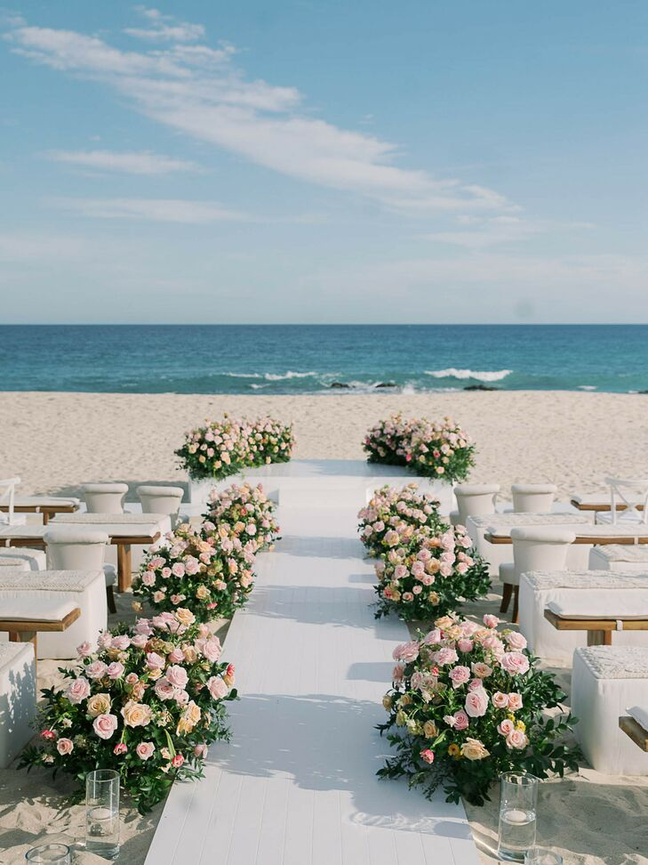 Rose Aisle Arrangements for Beach Ceremony in Cabo San Lucas, Mexico