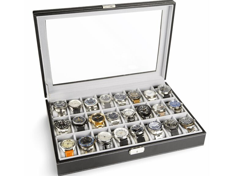 Watch display case showing 24 watches