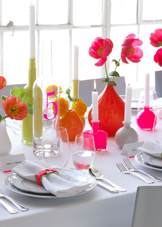 Neon wedding reception table decorations