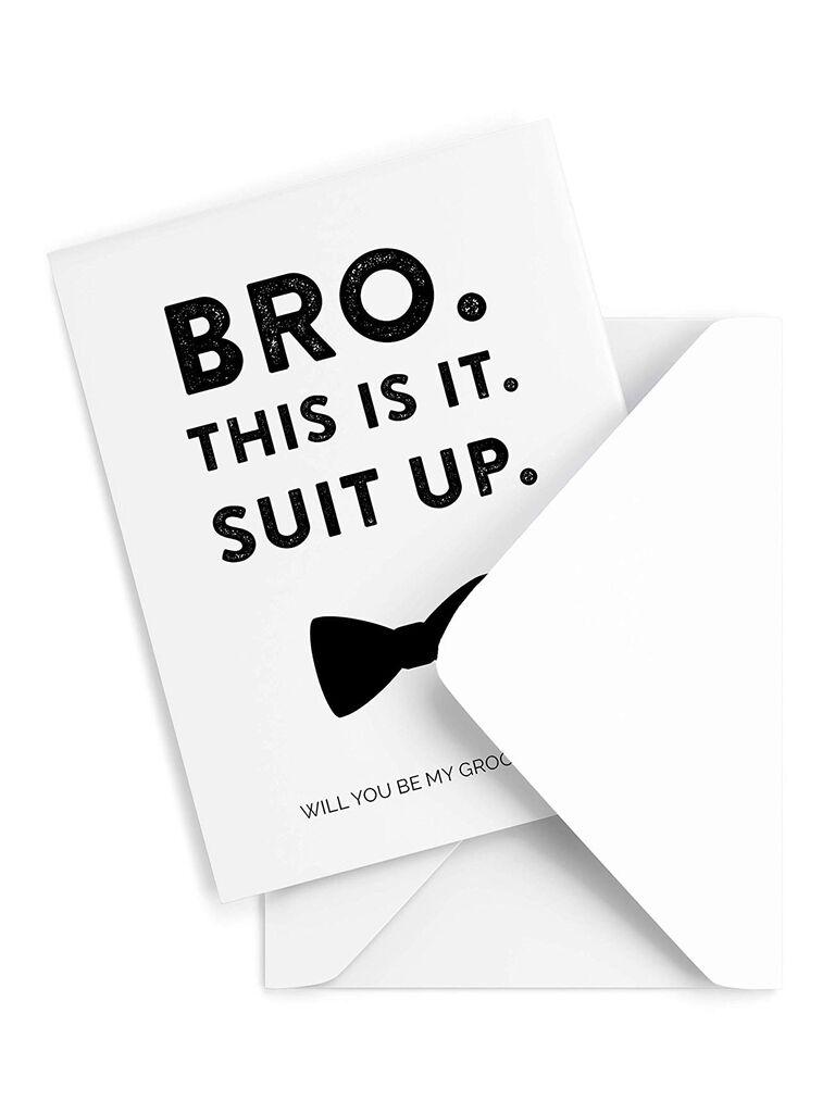 Suit Up groomsmen proposal card