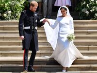 Prince Harry and Meghan Markle exit St. George's Chapel after royal wedding ceremony