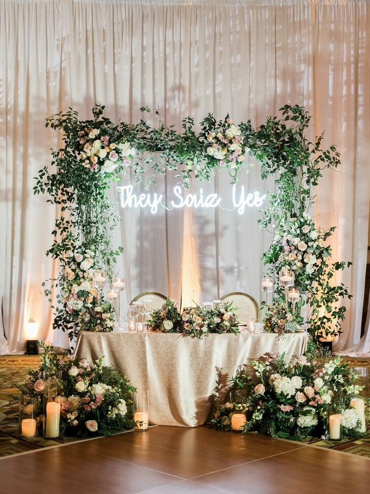 Sweetheart Table With Custom Neon Sign