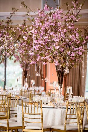 Pink Cherry Blossom Centerpieces with Crystals
