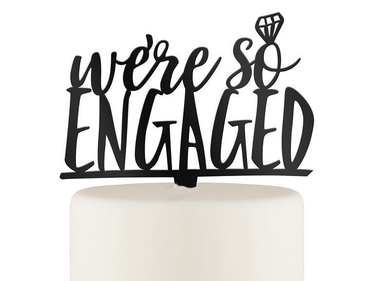 'we're so engaged' black cupcake topper and engagement ring 'o'