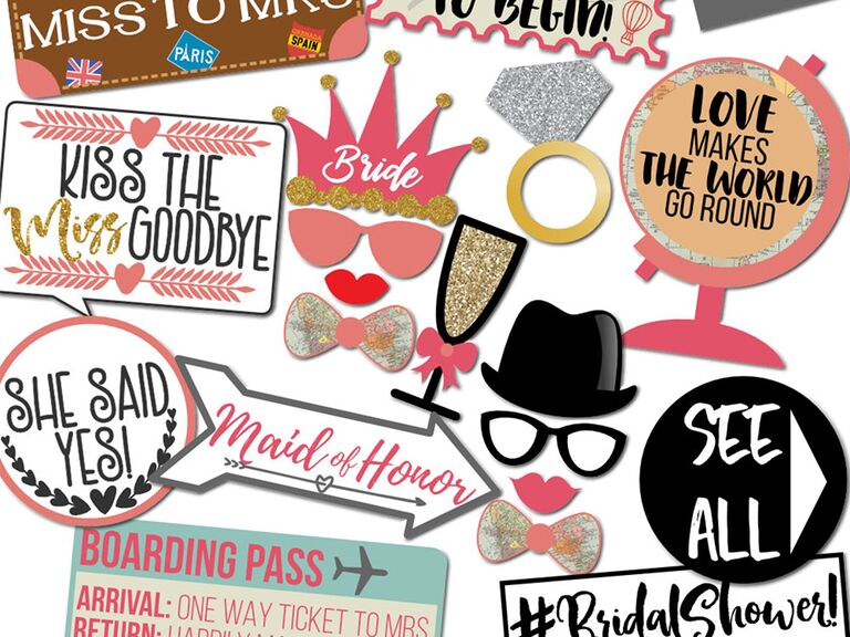 Wedding-themed sayings and travel-related props like globe, boarding pass, suitcase, etc.