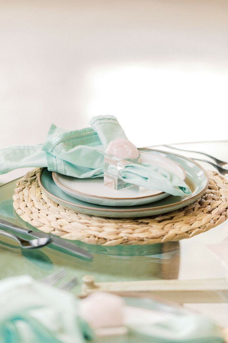 Pale Green Place Setting for Microwedding at The Barn at Willow Brook in Leesburg, Virginia