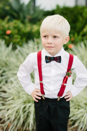 Ring Bearer in Plaid Bow Tie and Red Suspenders