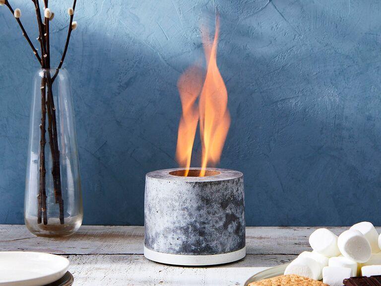 FLIKR concrete mini fire pit with flames