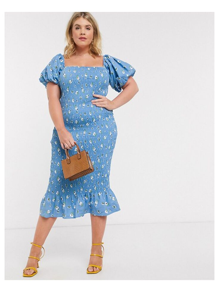Ribbed blue puff sleeve midi dress
