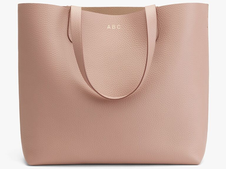 Dusty rose Italian leather tote with gold monogram