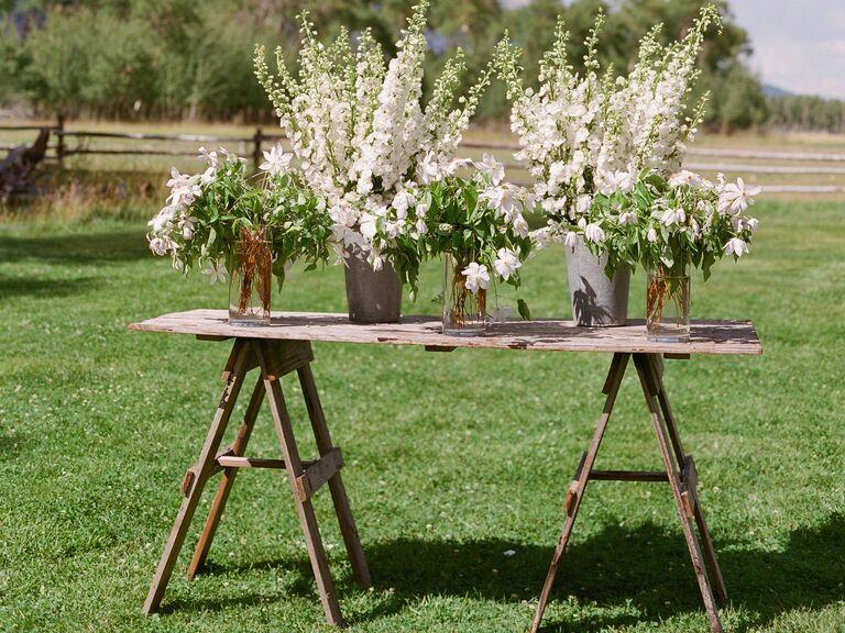 White stock flower ceremony decorations