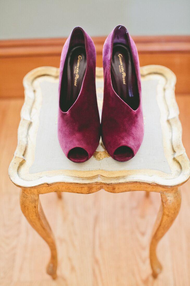 Unique Purple Open-Toe Shoes