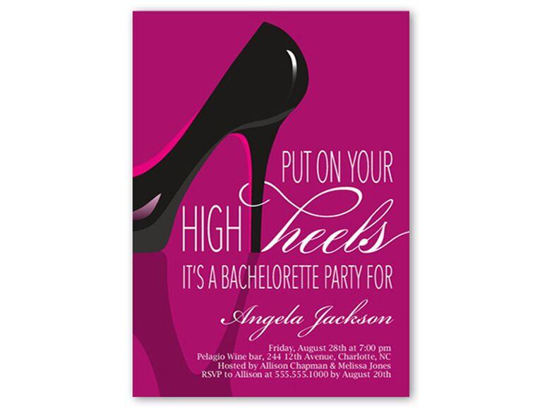 Stylish Stiletto Bachelorette Party Invitation