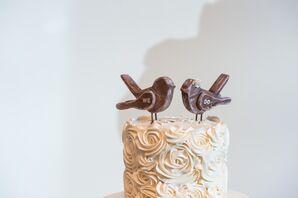 Shabby-Chic Wooden Lovebird Cake Topper