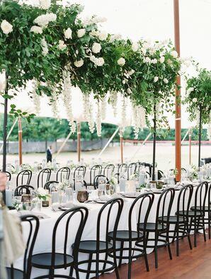 Delphinium Hanging Floral Installation at Wye River Estate Wedding