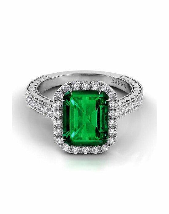 Danhov Pop of Color Emerald Diamond Halo Engagement Ring photo