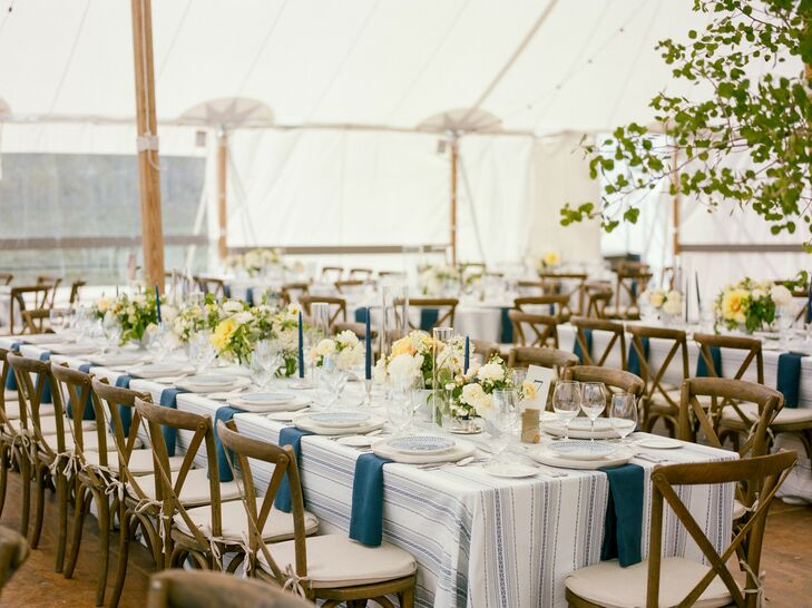 Rustic Tented Reception with Striped Tablecloths and Wood Cross-Back Chairs