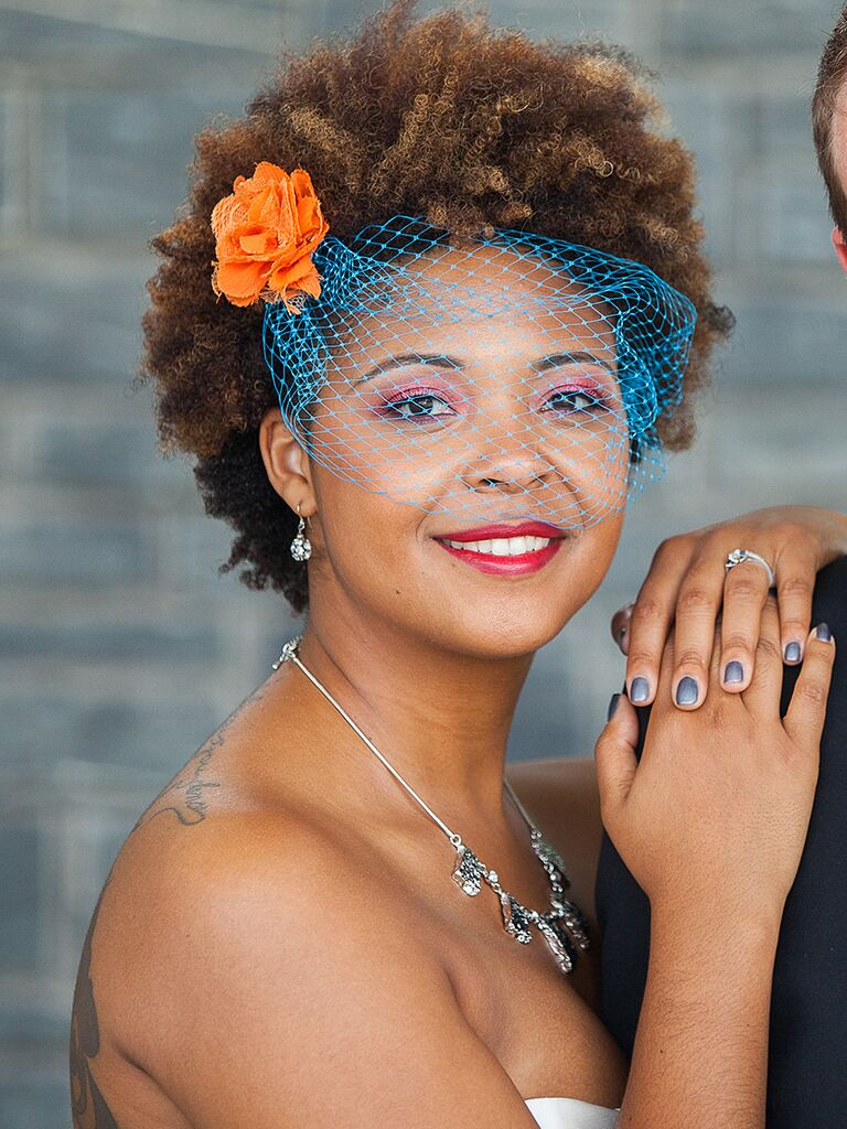 Playful wedding makeup with bright colors