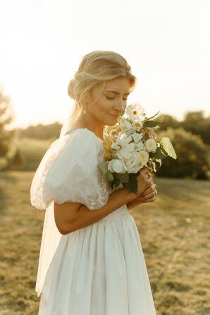 Bride at Golden Hour in Her Mother's Wedding Dress
