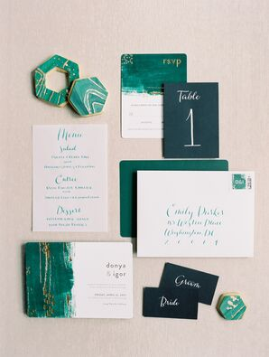 Malachite-Inspired Invitation Suite and Paper Goods