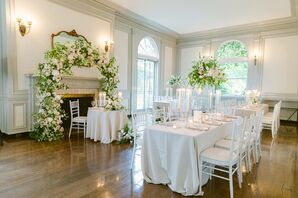 Elegant Reception Setup With Rectangular Tables Inside Eolia Mansion in Waterford, Connecticut