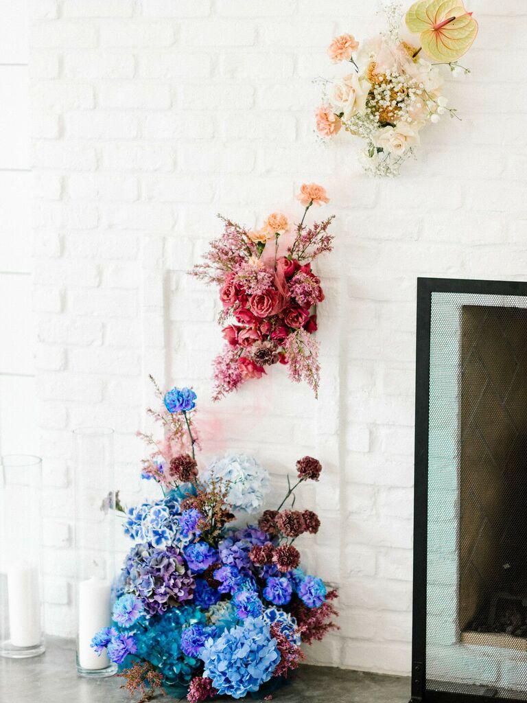 Colorful flower arrangement at wedding