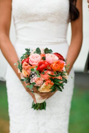 Vibrant Coral and Red Rose and Ranunculus Bouquet