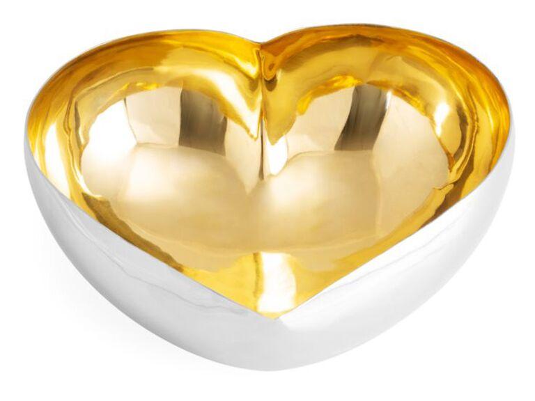 Gold heart serving dish
