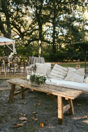 Couches and Pillows Added to the Wedding Reception's Relaxed Vibe