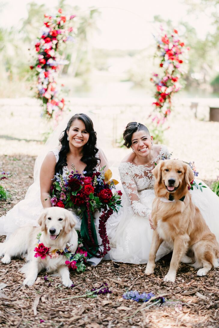 Brides Pose with Dogs at Wedding in Miami, Florida