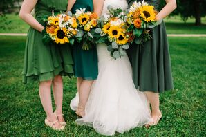 Bridesmaids in Green with Sunflower Bouquets