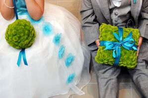 Flower Girl and Ring Bearer with Button Mums